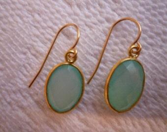 Chalcedony Earrings. AQUA CHALCEDONY EARRINGS. Bezel Set Earrings. Gold Earrings. Faceted Gemstones. 14K Gold fill Bezel Set Chalcedony.