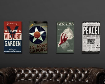 WWII Era Set of 4 Canvases