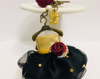 Vintage Elegant Cute Hand Made Yellow and Black Dress Keychain