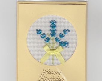 Handmade Beaded and Stitched  Lavender Greeting Card. Ideal for Mum's Birthday Size 9.5 cms x 12 cms. Envelope Included.