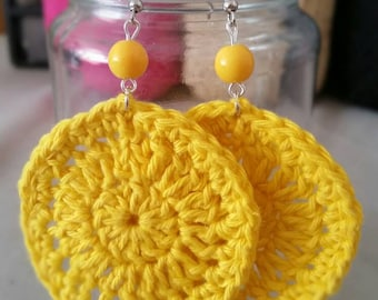 Crocheted By Freyja collection yellow Bohemian earrings