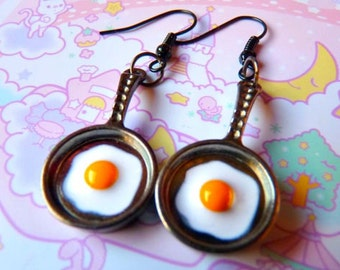 Frying Pan Eggs EARRINGS / NECKLACE