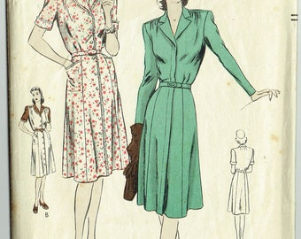 """ORIGINAL Vintage Sewing Pattern 1940s Vogue 9867 One-Piece Coat-Dress Pattern Size 36"""" Bust - Free Pattern Grading E-book Included"""