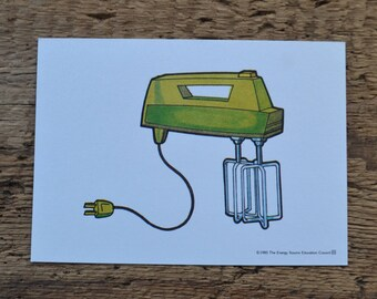 Vintage 1980s Educational Ephemera Scrapbooking Picture Print Flash Card - Electric Kitchen Mixer