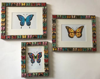 Beautiful Set of 3 Wooden Butterfly Buttons Grey Wall Picture Frames, 8x10 with 5x7 Mat Option, 5x7 with 4x6 Mat Option