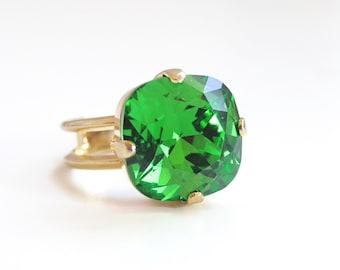 Dark Green Crystal Cushion Cut Crystal Ring - green crystal ring - Swarovski crystal