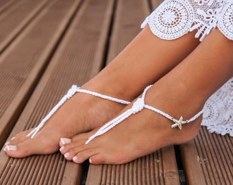 Nautical Bridal Foot jewelry, Starfish Beach wedding Barefoot Sandals, White Bridal accessory for destination wedding, The knot