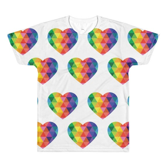 Mens Heart Tee for Valentines Tshirt Unisex All-Over Printed TShirt Valentines Day Gift Love Gifts Valentine Tee