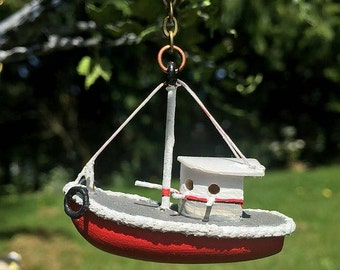 Miniature Boat Birdhouse 1:12 Scale Dollhouse Accessory