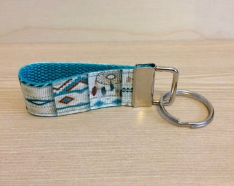 Dreamcatcher mini key fob - geometric print key fob - mini key fob wristlet