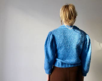Fairuz / sweater knitted wool and lurex / blue and silver / handmade / small-medium size