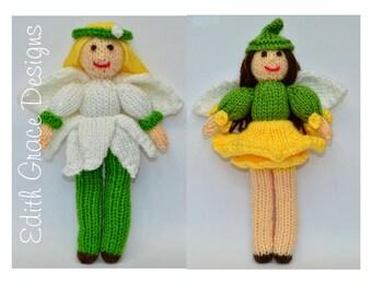 Doll Knitting Pattern - Flower Fairy Dolls - Snowdrop Fairy Doll - Daffodil Fairy Doll - Flower Girls - Toy Knitting Pattern - Amigurumi Toy