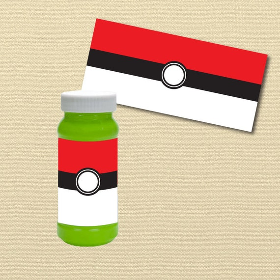 Pokemon Party Printables Pokeball Bubble Labels Bubble Wrappers