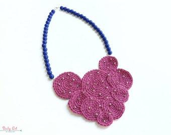 Fuschia, blue, statement necklace, crochet necklace