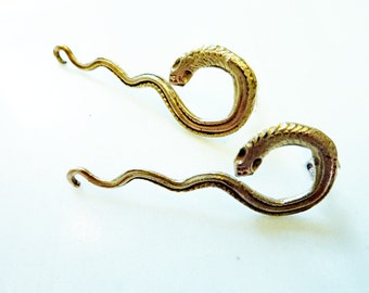 Medusa Snake Earrings, Hand-Cast Gold Bronze or Sterling Silver, Power Amulet, Serpents, Reptile, Victorian, Egyptian, Royalty