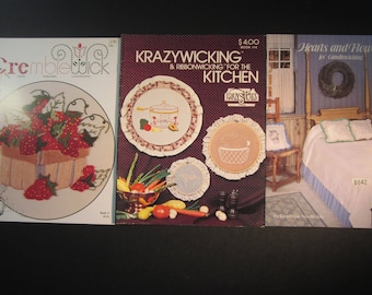 3 candlewicking booklets with patterns,instructions ,Krazywicking & Ribbonwicking for the Kitchen, Cremblewick, crewel,embroidery