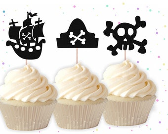 Glitter Pirate Cupcake Toppers - Pirate Cupcake Toppers, Birthday Cupcake Toppers, Pirate Birthday Decor, Pirate Party Decorations