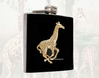 Antique Gold Giraffe Flask Inlaid in Hand Painted Glossy Enamel Vinatge Safari Inspired with Engraved and Personalized Option