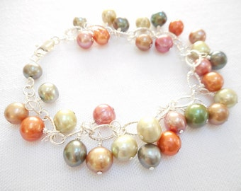 Freshwater Pearl Charm Bracelet - Colorful Pearl Cluster Bracelet, Freshwater Pearl Jewelry - Green, Tan, Orange and Pink Pearl Bracelet
