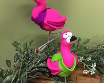 Flamingo Christmas Ornament, Handmade Polymer Clay Ornaments, Flamino in Scraf, Holiday Decor, Christmas Decor, Christmas Flamingo
