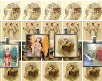 Printable Vintage Christmas Angels Digital Collage Sheet, 1x1 Inch Squares, JPEG, PDF  Instant Download  Downloadable, Commercial CU use