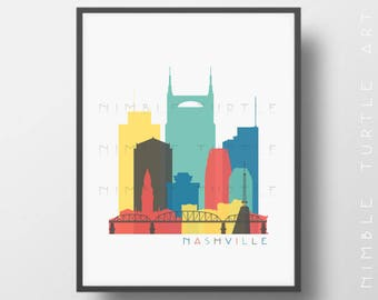 Nashville Skyline Printable Download  -  Nursery Wall  -  Baby Shower Gift