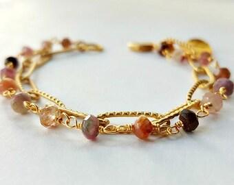 Tourmaline Bead And Chain Bracelet