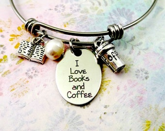 I Love Books and Coffee Bracelet or Necklace, Book Lover, Coffee Lover, Books Jewelry, Coffee Jewelry, Coffee Lover Gift, Book Lover Gift