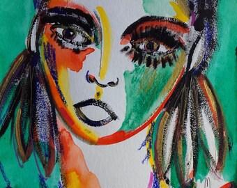 Portrait Woman Portrait Art Portrait Painting Portrait Fine Art Portrait Wall Art Home Decor Face Woman Contemporary Art