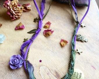 Moon Stars Wrap bracelet. Multiway 3 in 1 Bohemian Sari Silk Necklace Bracelet Anklet. Moon Stars jewelry. Boho jewelry. Moon Stars bracelet