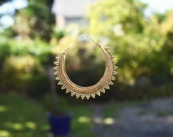 brass earrings giant hoops gypsy style boucles d'oreille laiton