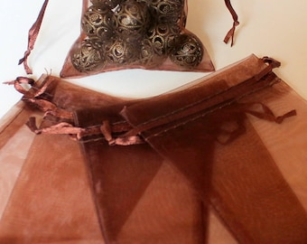 x 5 bags in organza - chocolate brown - 9 x 11.5 cm - gift packing - birthday Christmas Christmas Xmas festive wedding christening favors