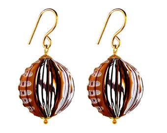 Murano Blown Glass Earrings by Mystery of Venice  'Hopi', Blown Glass Earrings, Murano Glass Earrings, Glass Earrings, Murano Earrings