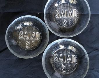 Three Crystal Blenko Salad Bowls - Chip & Dip Line