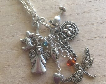 Dragonfly in Amber Charm Necklace ~ Outlander Inspired
