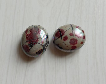 Set of 2 Red Oval acrylic flower beads