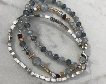 Multi strand blues and silver bracelet