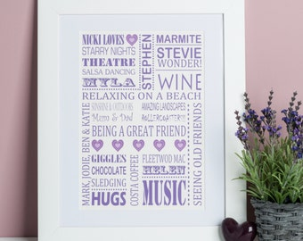 Personalised Loves Print - Likes Poster - Custom Loves Print - Best Friend Gift - Gifts for Dads - Gifts for family