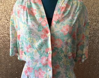 vintage pastel floral button down blouse