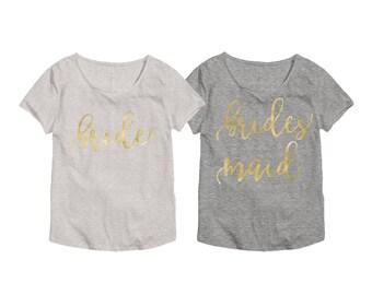 Bridal Party Shirt Set - Gold Bridesmaid Shirts - Bridal Party Shirts - Bridal Shirts - Bachelorette Party Shirts - Bridesmaid Shirts 013