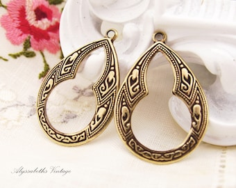 Ornate Bohemian Antiqued Brass Floral Embossed Teardrop Hoop Earring Art Deco Dangles Drops - 4