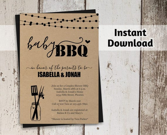 Baby BBQ Invitation Template