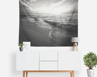 Seawater Tapestry | Ocean Tapestry | Waves Wall Decor | Nature Wall Art | Sea Tapestries | Photography | Black & White Tapestry | Sunset