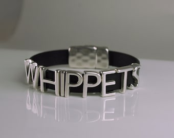 Whippets Leather Bracelet Snap Closure Choice of Color