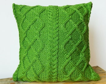 Green cable pillow cover