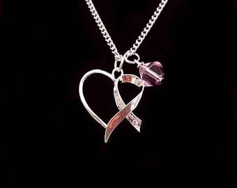 Cancer Heart Hope Pink Pendant with Glass Rose Bead
