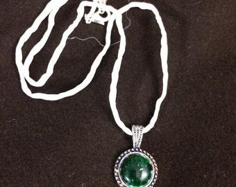 Green Mini-Medallion Glass Pendant