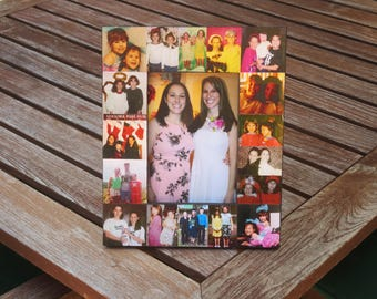 """Personalized Sister Gift, Maid of Honor Collage Picture Frame, Custom Bridesmaid Frame, Bridal Shower Gift, Parent Gift, Best Friend 5"""" x 7"""""""