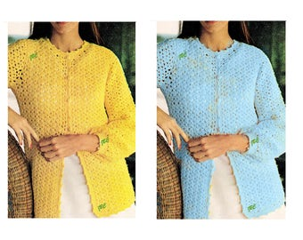 Sweater Pattern Lightweight Cardigan Pattern Shell Stitch Crochet Pattern PDF S291