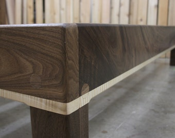 Curly Maple and Walnut King Platform Bed Frame with Truly Natural Finish and 90+% American-Made Materials